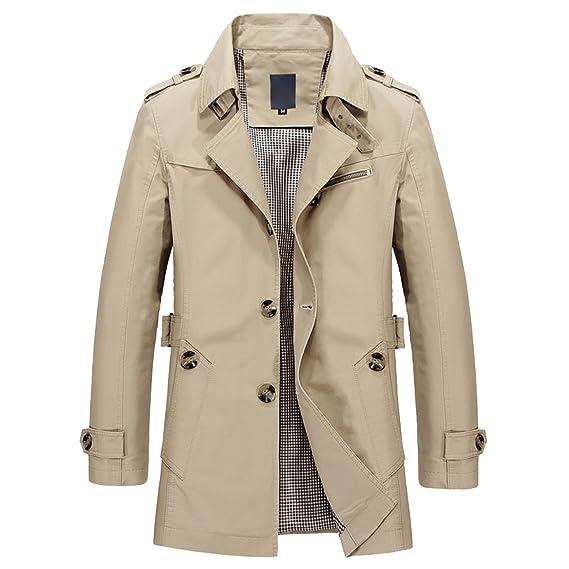 Elonglin Homme Trench Manteau Court Boutonné Caban Trench Coat Veste à Manche  Longue Slim Fit pour 461c56424e96