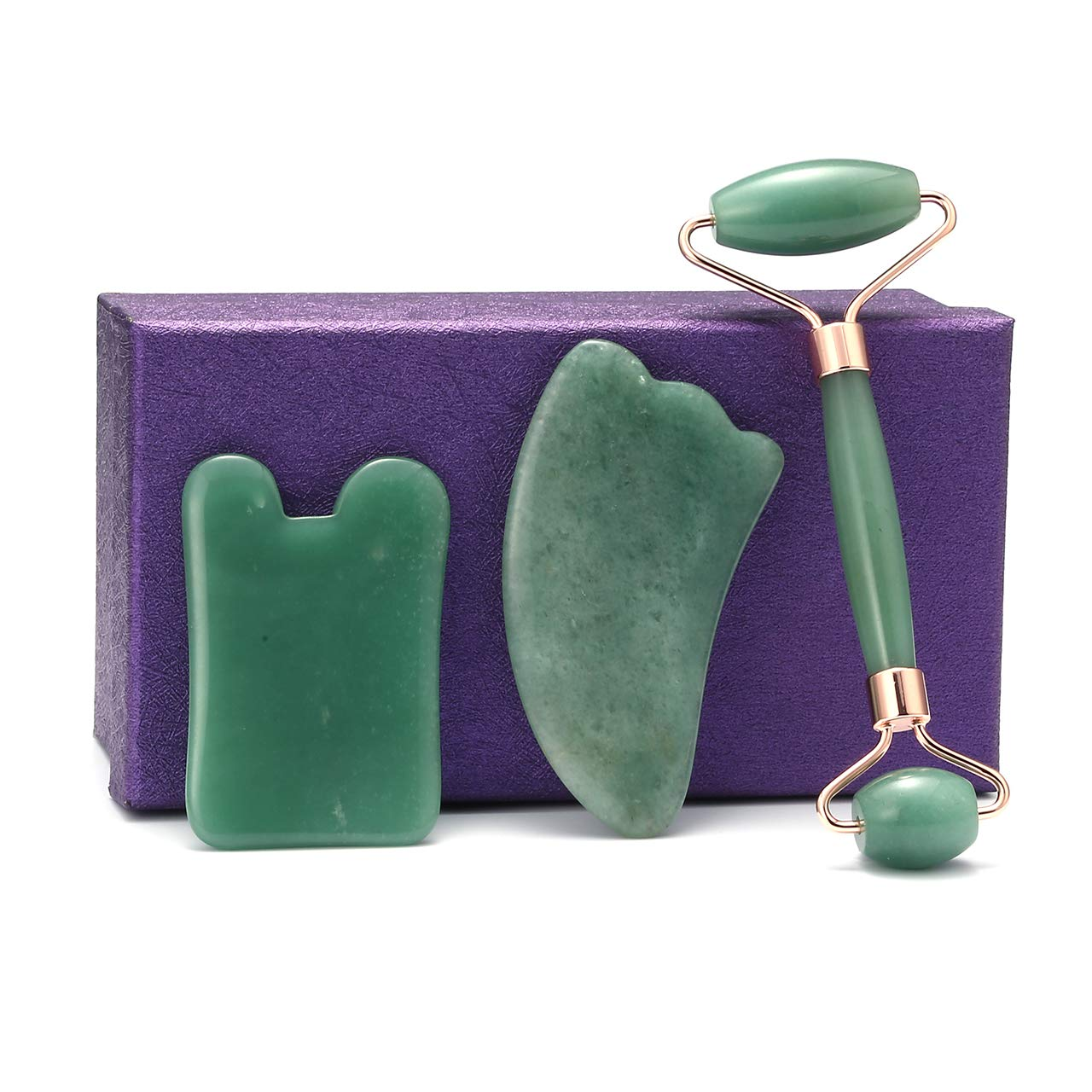 JOVIVI Jade Roller and Gua Sha Tools Set - Jade Roller For Face- 100% Natural Green Aventurine Facial Jade Stone- Face Eye Neck Roller for Puffiness, Wrinkles and Anti-Aging