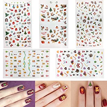 Amazon Com Christmas Nail Stickers 5 Sheets 3d Self Adhesive Nail