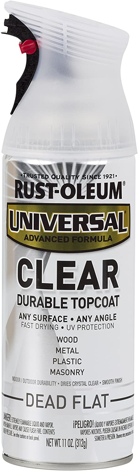Rust-Oleum Clear 302151 Universal All Surface Spray Paint 11 oz, Dead Flat