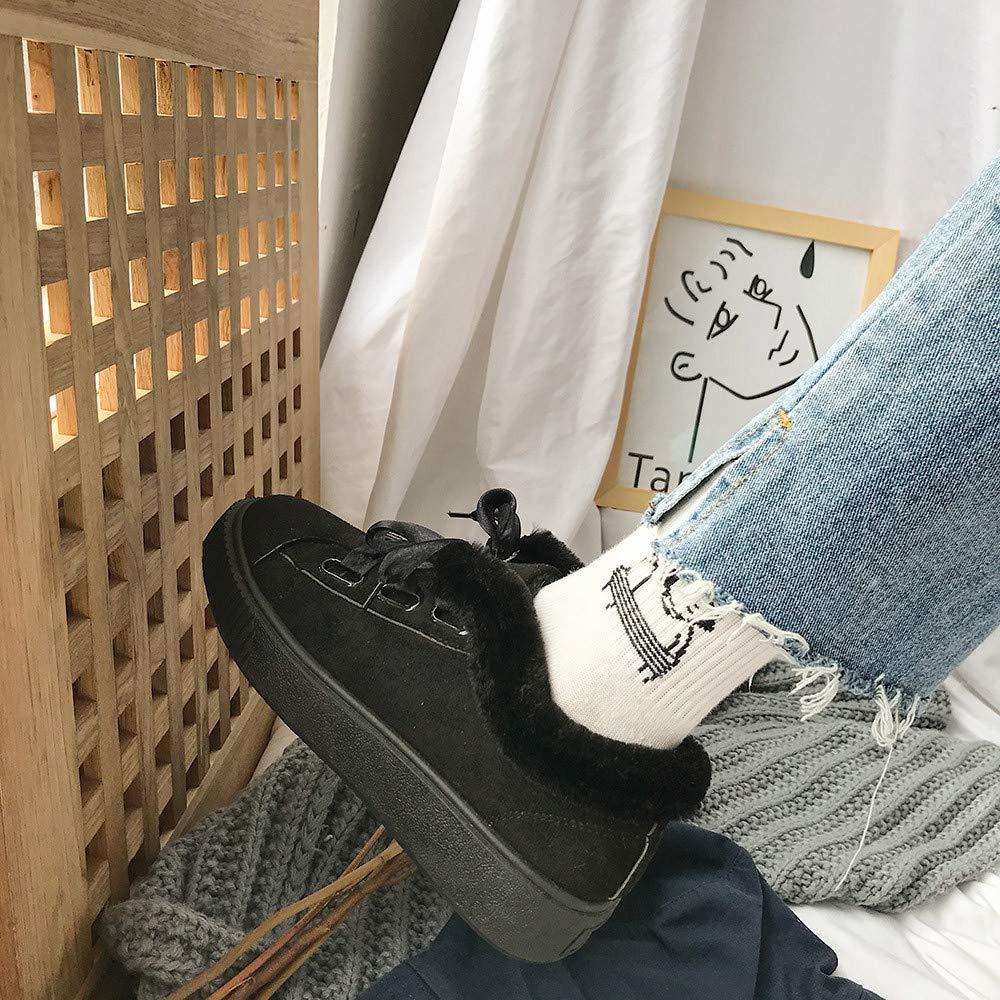 Zapatos de algodón con Cordones Warm Snow Wild Flat-with Shoes LILICAT® Casual más Terciopelo cálido Botas de Nieve Moda Cinta Zapatos Casual Botas de Nieve ...