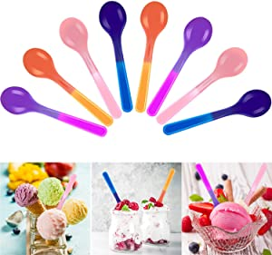 48 Pieces Color Changing Spoons Plastic Colorful Ice Cream Spoon for Kids Birthday Summer Party Supplies, 4 Colors
