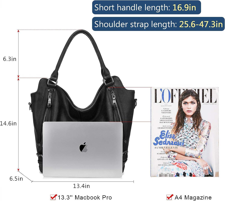 Tragetasche für Frauen, PU-Leder, Schultertasche, modische Hobo-Tasche, große Geldbörse und Handtaschen mit verstellbarem Schulterriemen Schwarz