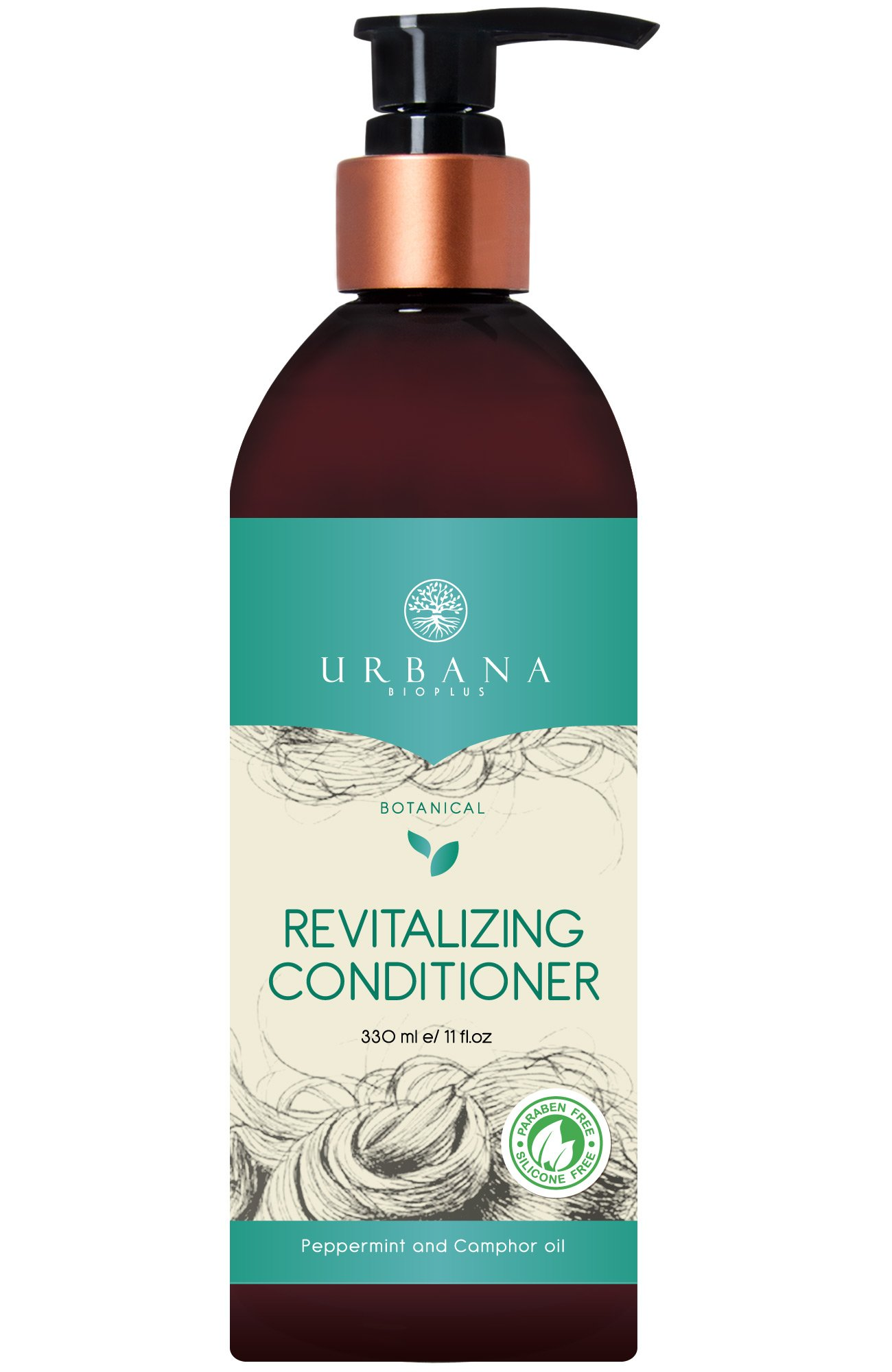 URBANA BIOPLUS Botanical Revitalizing Conditioner, Sulfate Paraben Silicon Free Daily Natural Hair Care Healthy Smooth Mask Shine Hydrating Nourishing Repair Damaged Beauty Women, 330 ml / 11 fl oz