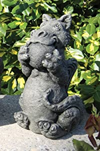 Little Darling Dragon Baby 'Playing Ball' - Solid Cast Stone Garden Statue - a Great Home or Garden Idea - Durable, Lifelike Sculpture - Fun Exterior and Interior Art