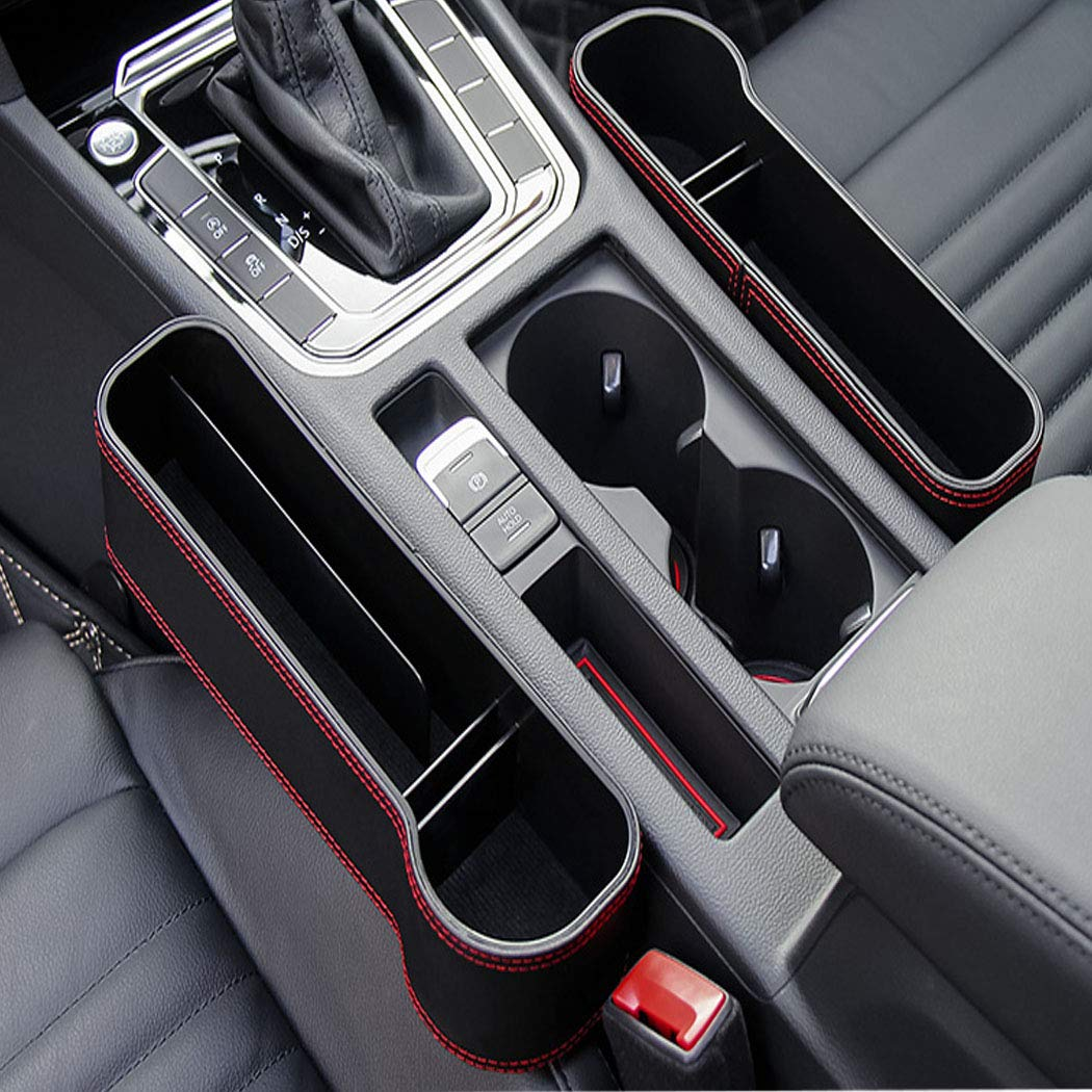 MASO Car Seat Side Pocket PU Leather Car Seat Filler Gap Space Storage Box Cup Bottle Mobile Phone Holder Coin Collector Console Side Pocket,Left Car Seat Catcher