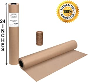 """Brown Kraft Butcher Paper Roll - 24"""" x 1800"""" (150 ft) Natural Food Grade Brown Wrapping Paper for BBQ Briskets,Smoking & Wrapping Meats - Unbleached Unwaxed and Uncoated"""