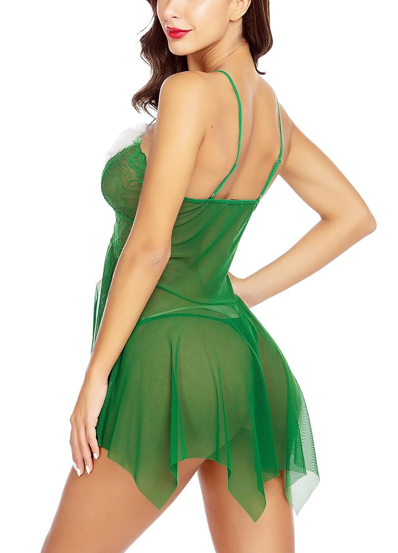 Avidlove Women Christmas Lingerie Red Lingerie Babydoll Lace Santa Sleepwear Nighties