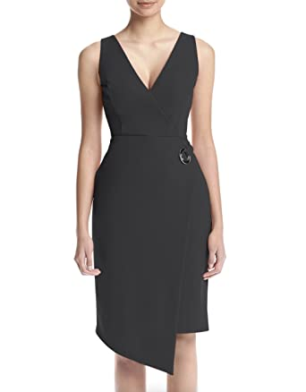 0a966bdcd19 Ivanka Trump Black Wrap Scuba Dress at Amazon Women s Clothing store