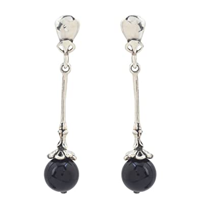 Black Onyx Sterling Silver Plated Stud//Earring 10 mm Ethnic Wear Handmade Jewelry