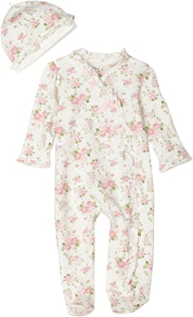 Little Me Baby Girls Dress Hat Outfit Set Size 3 6 9 Months White Floral Layette