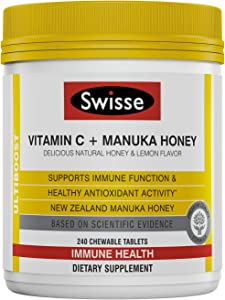 Swisse Ultiboost Vitamin C with Manuka Honey   Immunity Support, Rich in Antioxidants   240 Chewable Tablets