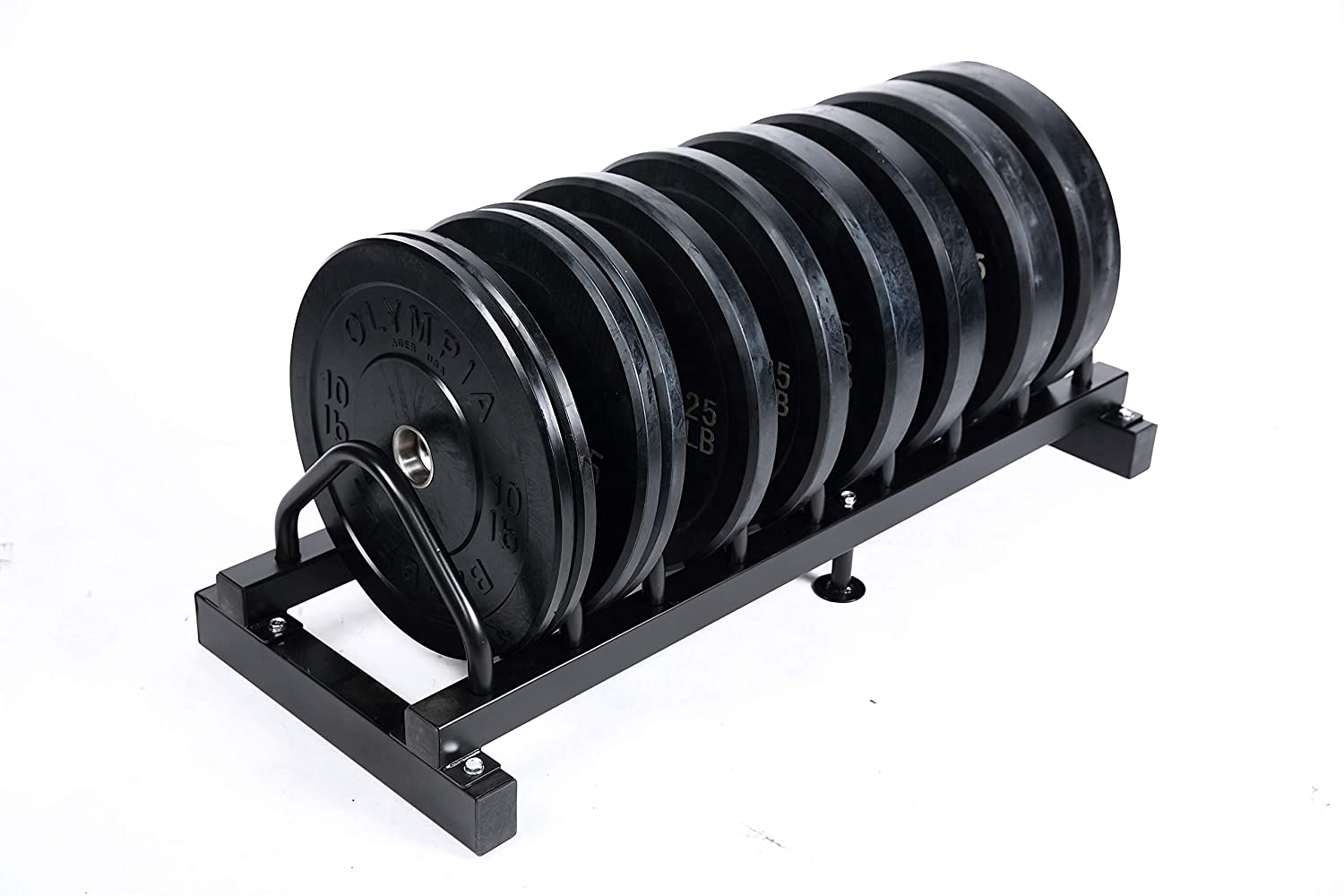 Rubber Bumper Plate Black 5 Pair Set with Ader Plate Rack, Great Gift