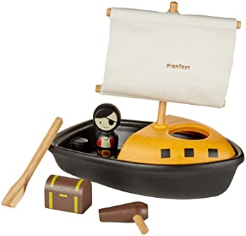 Holzspielzeug Plan Toys 5693 Fischerboot Activity Boat Holz schwimmfähig!