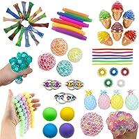 16 Pack Sensory Fidget Toys Set-Bike Chain,Marble Fidget Toys,Rainbow Magic Sensory Balls,Squeeze-a-Bean Soy Stress and…