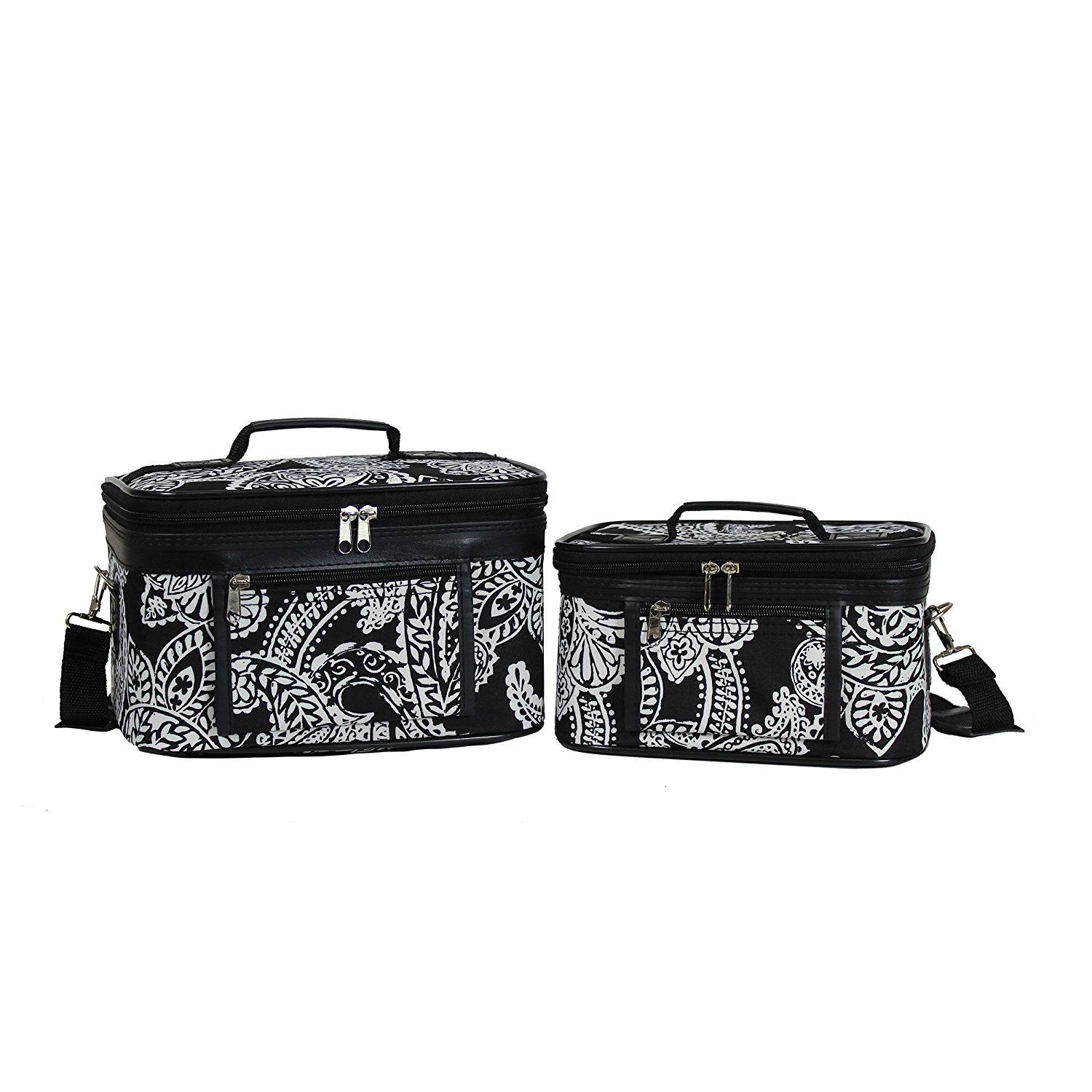beYOUnique Cosmetic Bag Black White Paisley 2 Piece Weekender Video Games - 9 Inch | 7 inch Set