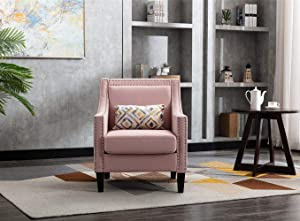 Accent Chair with Small Pillow, Mid Century Armchair with Decorative Nailheads and Solid Wooden Legs, Modern Chairs for Living Room and Bedroom, Pink
