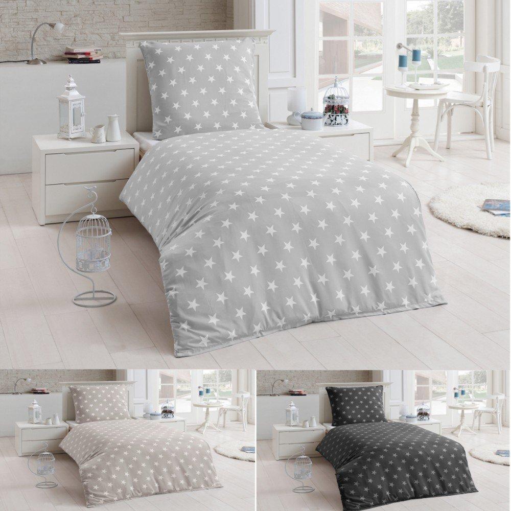 2 Tlg Warme Bettwäsche Microfaser Flanell 135x200 Winter Sterne Kissenbezug  , Farbe:Silber: Amazon.de: Küche U0026 Haushalt