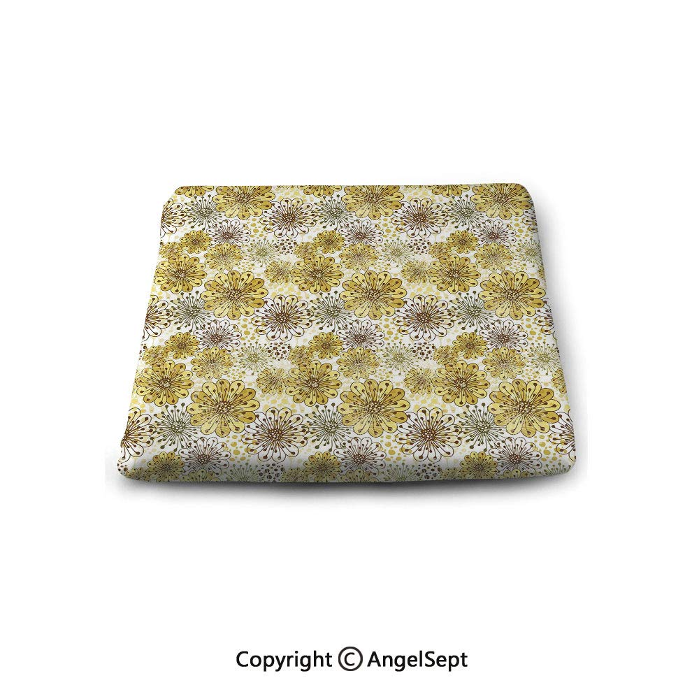 oobon Square Chair Seat Cushion for Kitchen Dining Chairs,Floral,Cute Artistic Blossoms Petals Modern Dots Abstract Bedding Plants Gardening,Khaki Brown White,Memory Butt Pad Non Slip
