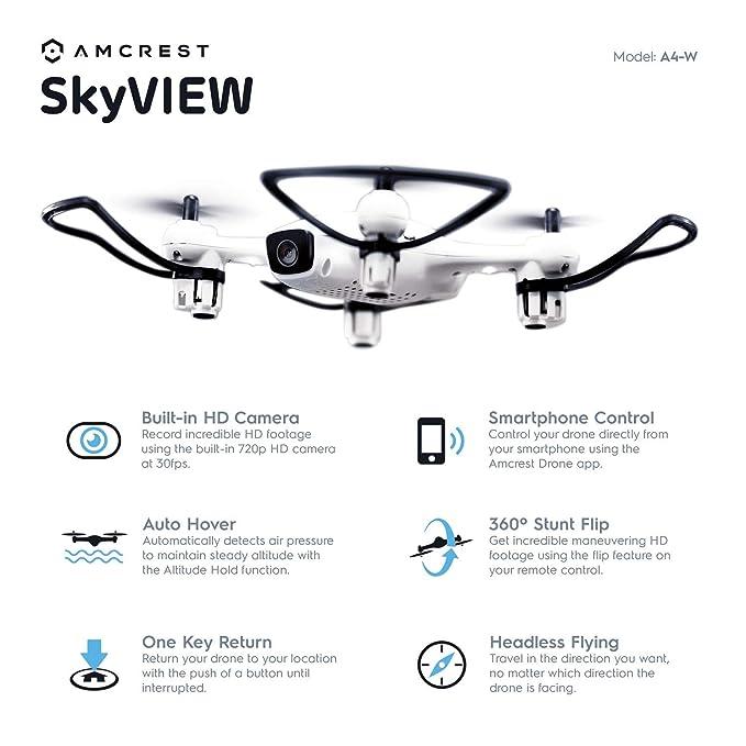 Amcrest A4-W Skyview WiFi Drone Con Camara HD 720P FPV Quadcopter ...