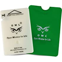 OWL Car Window Breaker and Seatbelt Cutter Card Auto Crash Emergency Escape  Tool Life Saving Survival Kit 2-in-1 Tool - Made in USA (Green)