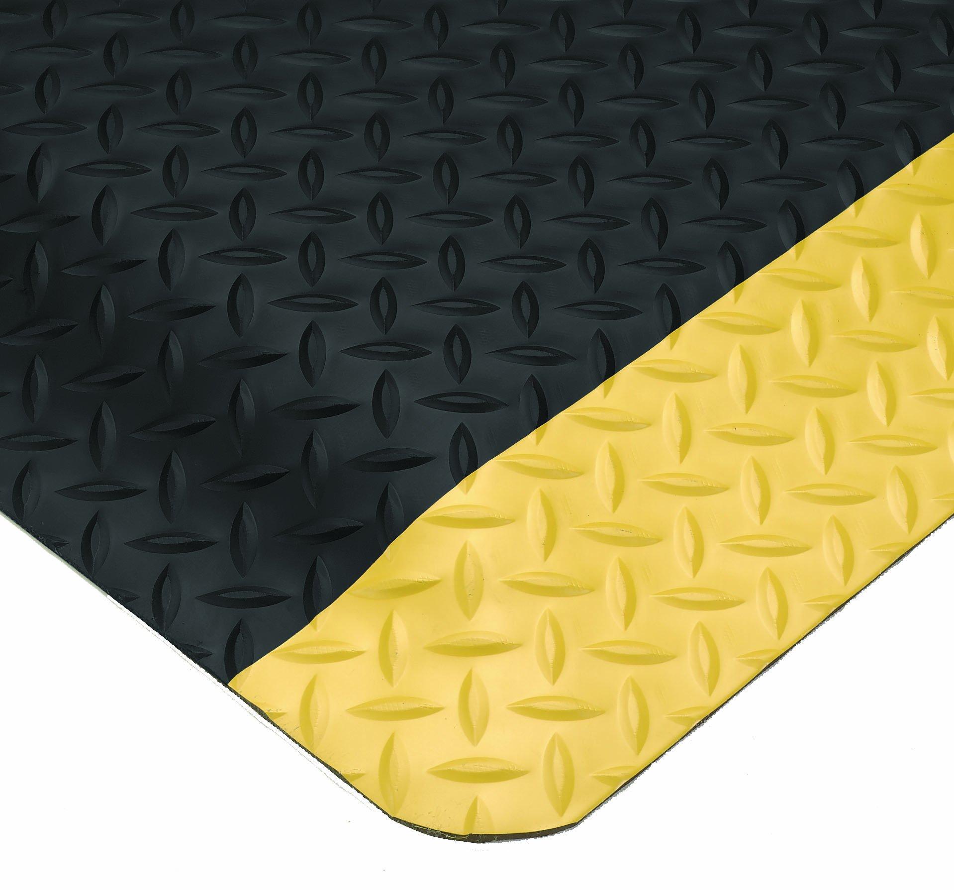 Wearwell 495.1516x2x3BYL Diamond-Plate Select UltraSoft Mat, 2' Width x 3' Length x 15/16'' Thick, Black/Yellow