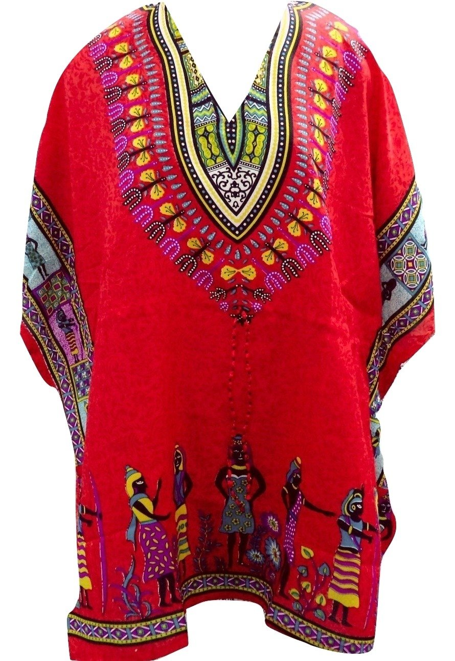 RiSi Women's African Kaftan, Short V-Neck Top, Kimono Tunic Kaftan Dress RC-022