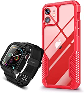[Bundle] MOBOSI Vanguard Armor Compatible with iPhone 12 /iPhone 12 Pro 6.1 inch (Red) & Swisper Series Compatible with Apple Watch Band Series 6/5/4/SE 44mm with Case (Black)(2 Items Bundle)