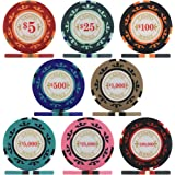 Crown Casino Royale 14g Poker Chips - Sample Pack Containing All 8 Values
