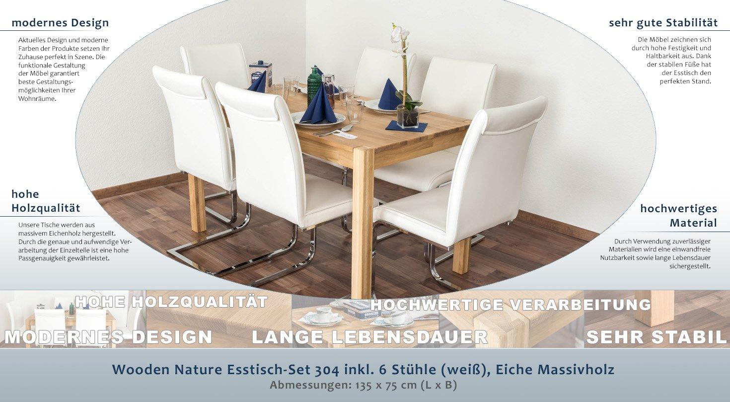 Wooden Nature Esstisch-Set 304 inkl. 6 Stühle (weiß), Eiche ...