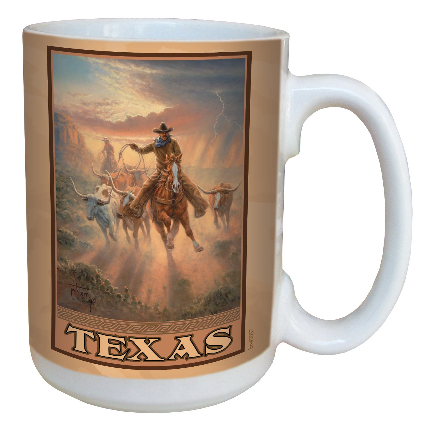 Multicolored Tree Free 15-Ounce Tree-Free Greetings lm43057 Vintage Texas Roundup by Jack Terry Ceramic Mug with Full-Sized Handle