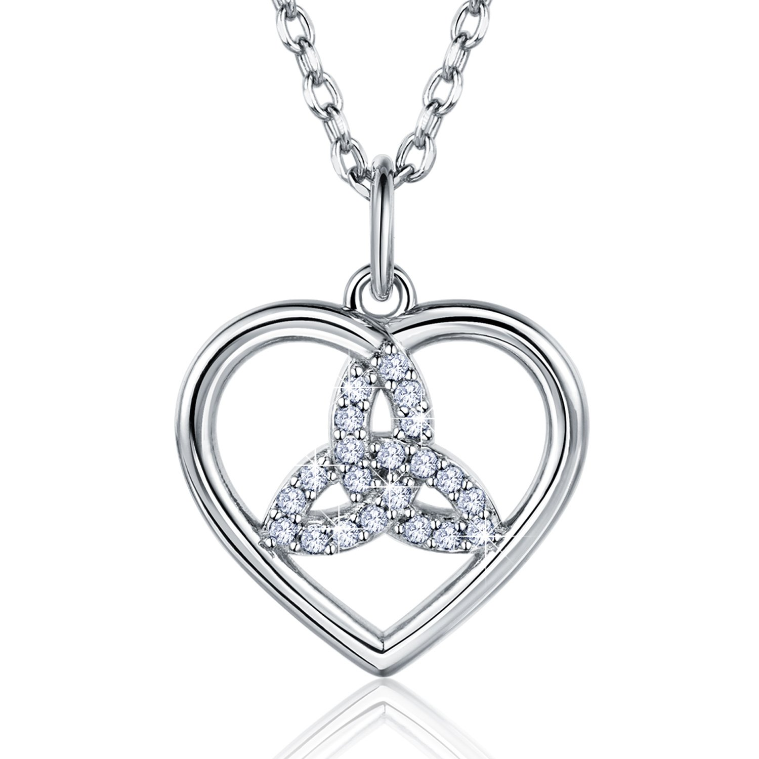 Billie Bijoux 925 Sterling Silver Good Luck Irish Celtic Knot Triangle Vintage Love Heart Pendant White Gold Plated Necklace for Women Birthday Gift 18''