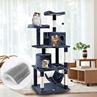 HealSmart Tree Condo with Scratching Post and Hammock, Cat Tower Pet Play House with Toy, 150 cm Height