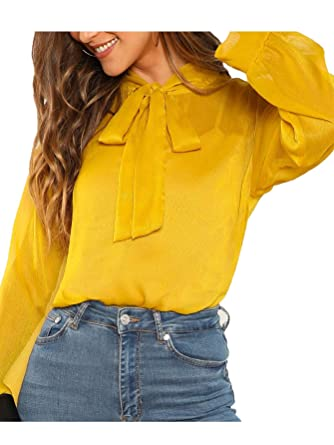 15023d4487bf28 Verdusa Women's Tie Neck Semi Sheer Striped Blouse Top at Amazon Women's  Clothing store: