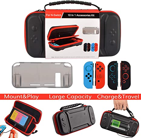 Kit de accesorios para Nintendo Switch, original Charge-Inside Mount Case TPU Cover Silicone Joy con Gel Guards and Thumb Grip Caps Accessories Case para Nintendo Switch (10 en 1): Amazon.es: Videojuegos