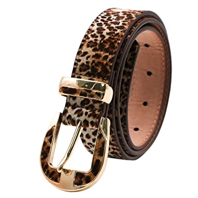 VOCHIC Womens Leopard Print PU Leather Belt for Pants Jeans Dress Ladies Fashion Waist Belt