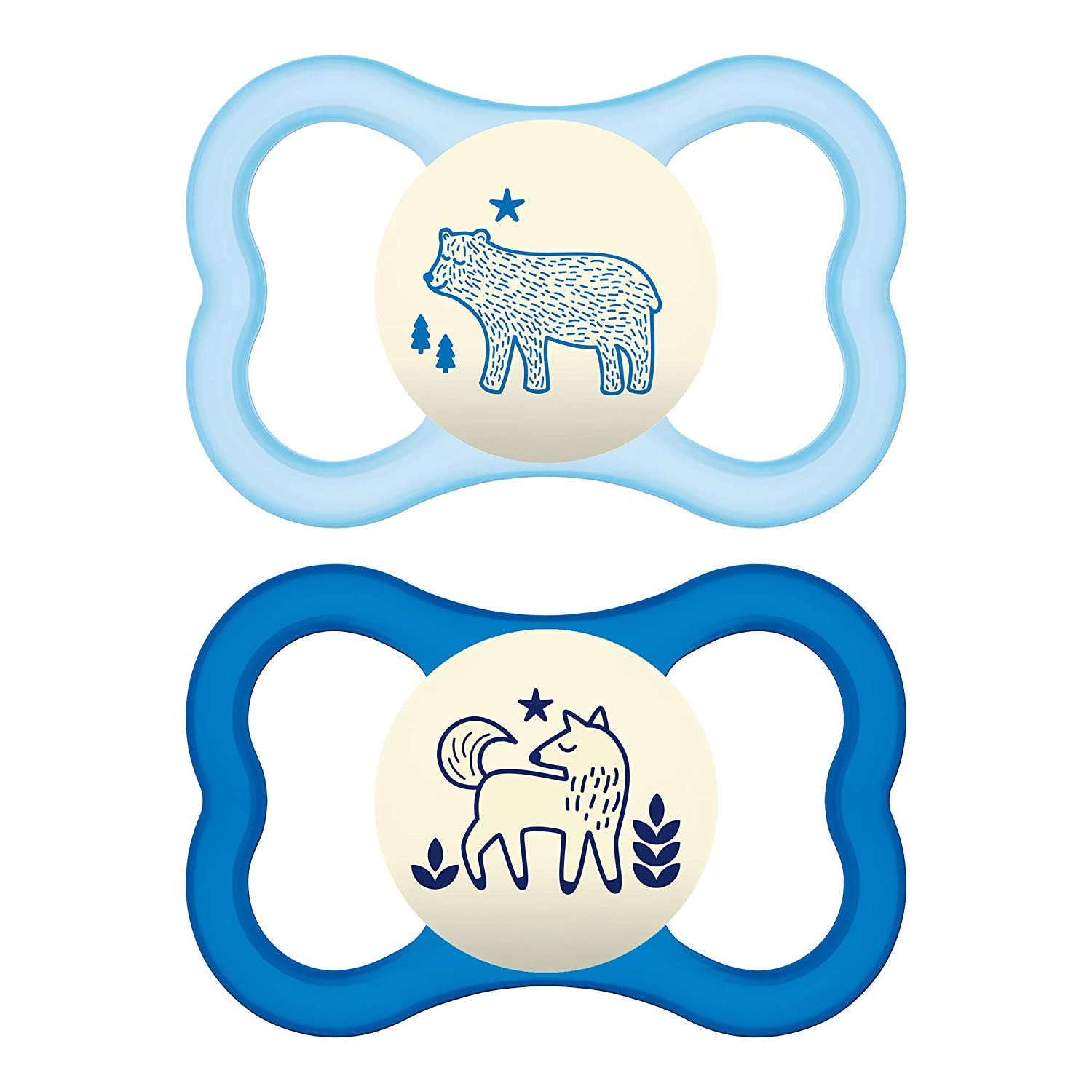 MAM Glow In the Dark Sensitive Skin Pacifiers, Baby Pacifier 6+ Months, Best Pacifier for Breastfed Babies,