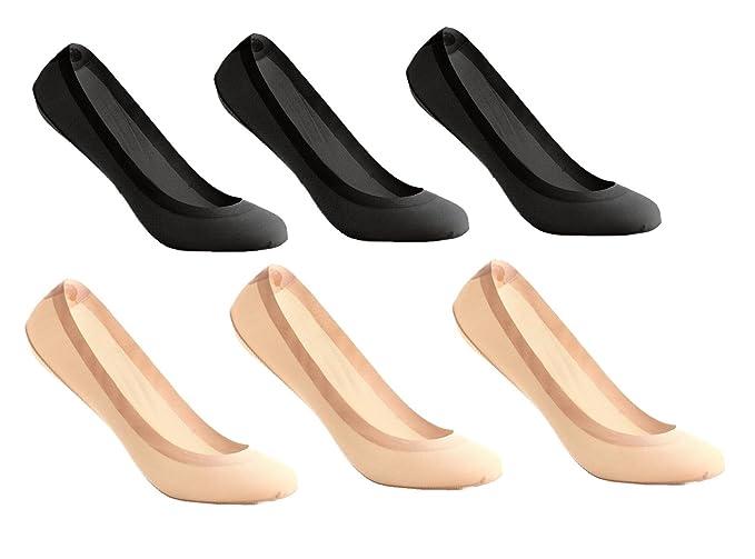 UMIPUBO 6 Pares Calcetines para Mujer Invisibles De Algodón Calcetines Cortos Elástco Con Silicona Antideslizante Anti