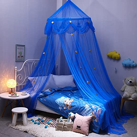 Fdit Bed Mosquito Netting Elegant Ruffle Lace Bed Canopy for Little Princess Baby Children Blue