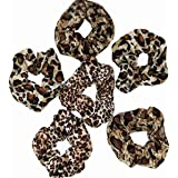 6 PCS scrunchies for hair cheetah print hair ties scrunchie animal print velvet leopard bow women lepord large clips for…