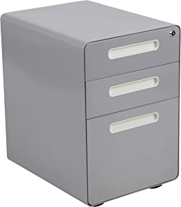 Flash Furniture Ergonomic 3-Drawer Mobile Locking Filing Cabinet with Anti-Tilt Mechanism and Hanging Drawer for Legal & Letter Files, Gray