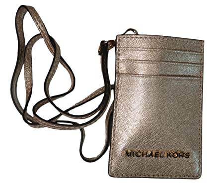 dddcc7e23cdbd Michael Kors Jet Set Travel Saffiano Leather Lanyard ID Card Case Pale Gold   Amazon.co.uk  Clothing