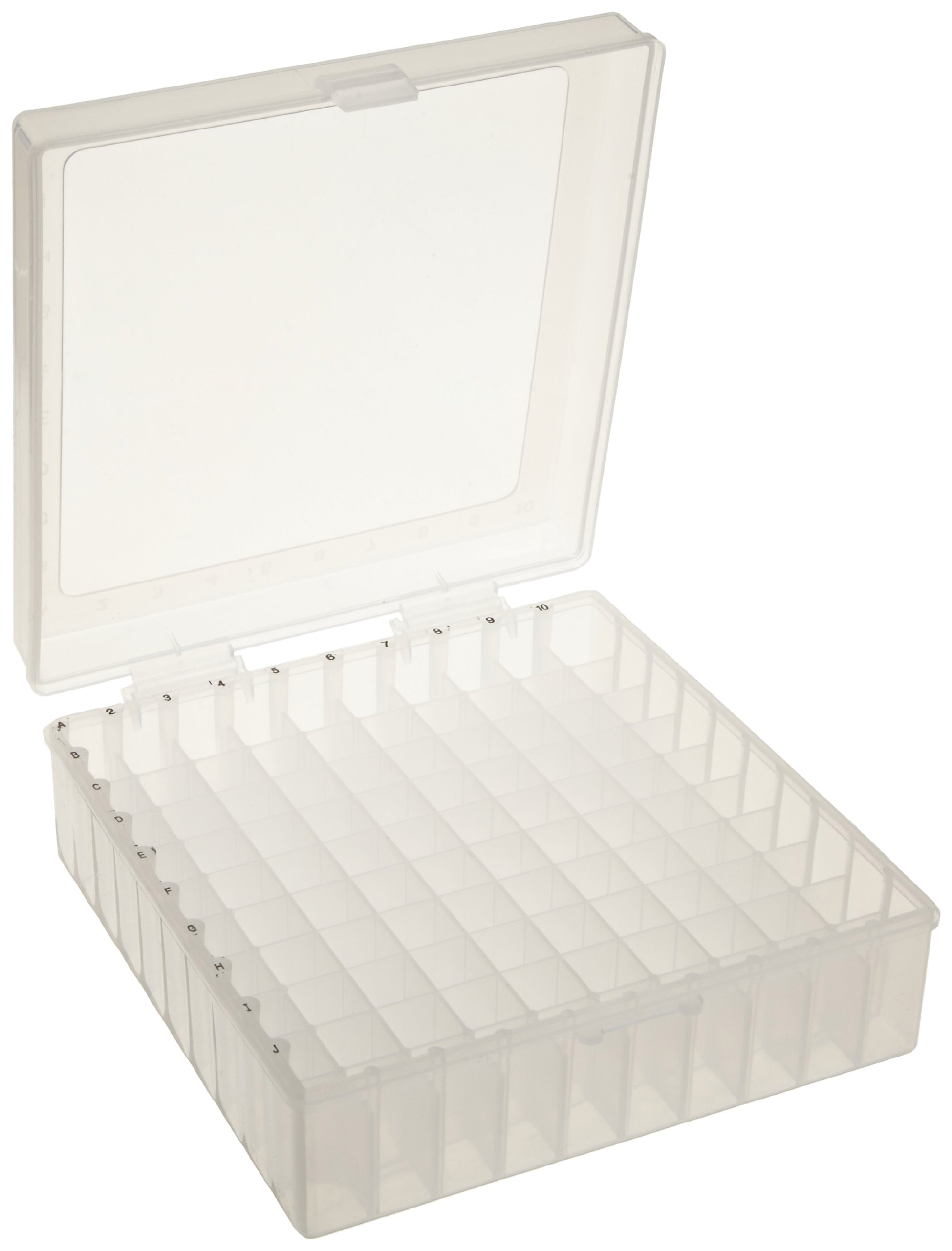 Bel-Art F18851-0011 100-Place Plastic Freezer Storage Boxes; 6 x 5.7 x 2.2 in. H, Natural (Pack of 5)