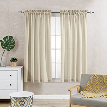 Linen Sheer Curtain Panels For Living Room Privacy Beige Voile Window  Curtains Set Of 2 Casual