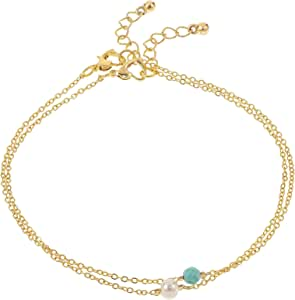 الوان اكسيسوريز طقم خلخال مطلي بالذهب قطعتين للنساء - EE3655PGT