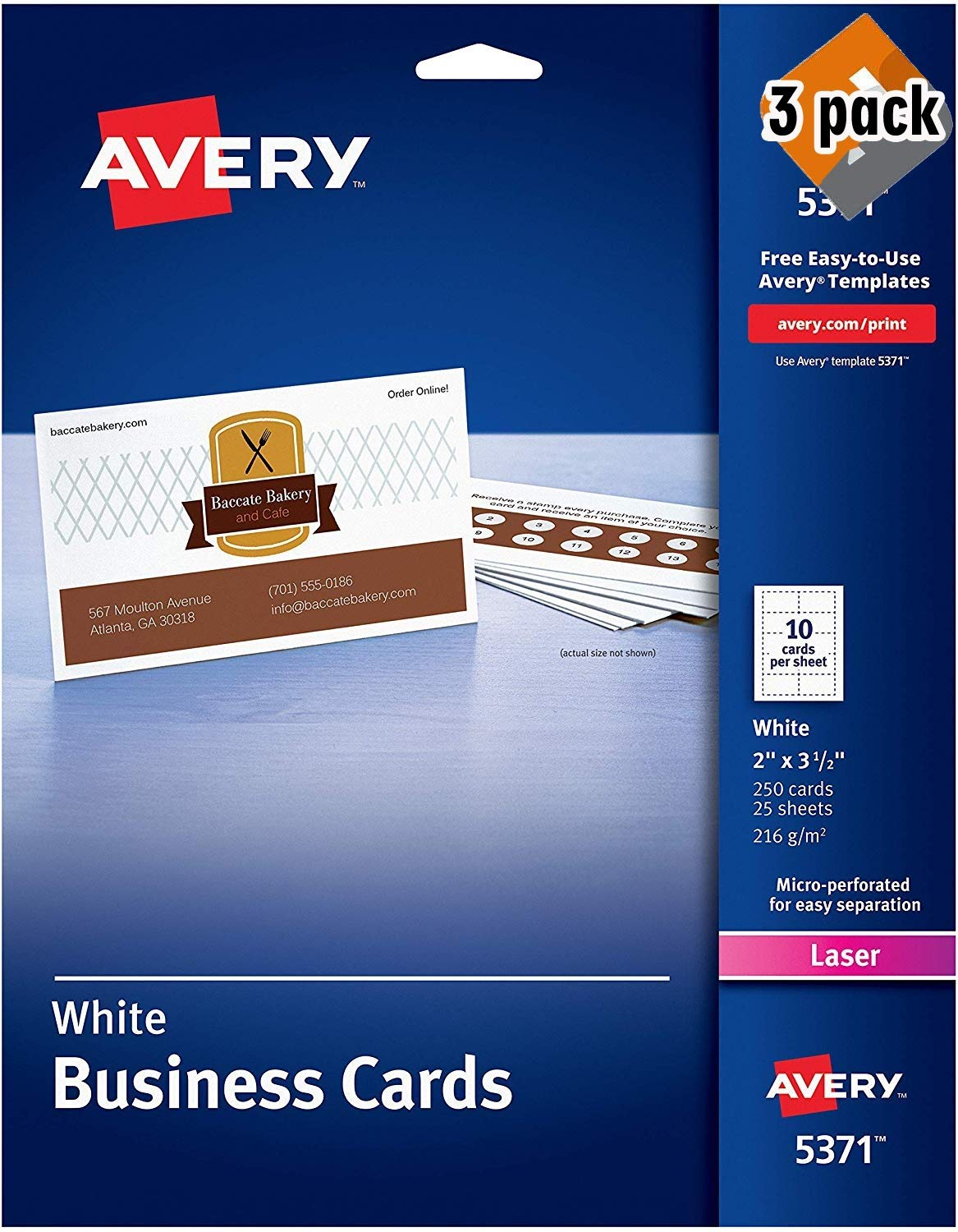 Avery Printable Business Cards, Laser Printers, 250 Cards, 2 x 3.5 (5371), 3 Pack by AVERY