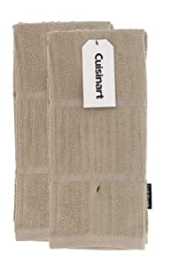 "Cuisinart Bamboo Dish Towel Set-Kitchen and Hand Towels for Drying Dishes / Hands - Absorbent, Soft and Anti-Microbial-Premium Bamboo / Cotton Blend, 2 Pack, 16 x 26"", Tan, Bark-Effect Design"