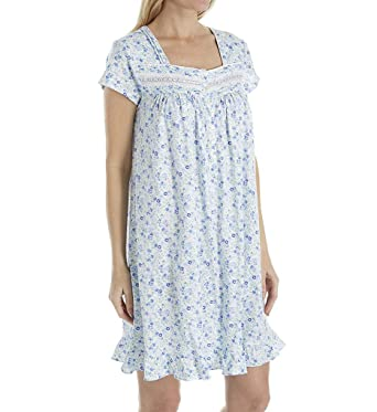 a59fbf5d30 Square Neck Short Eileen West Cotton Knit Nightgown in Flowery Blue  (White Blue