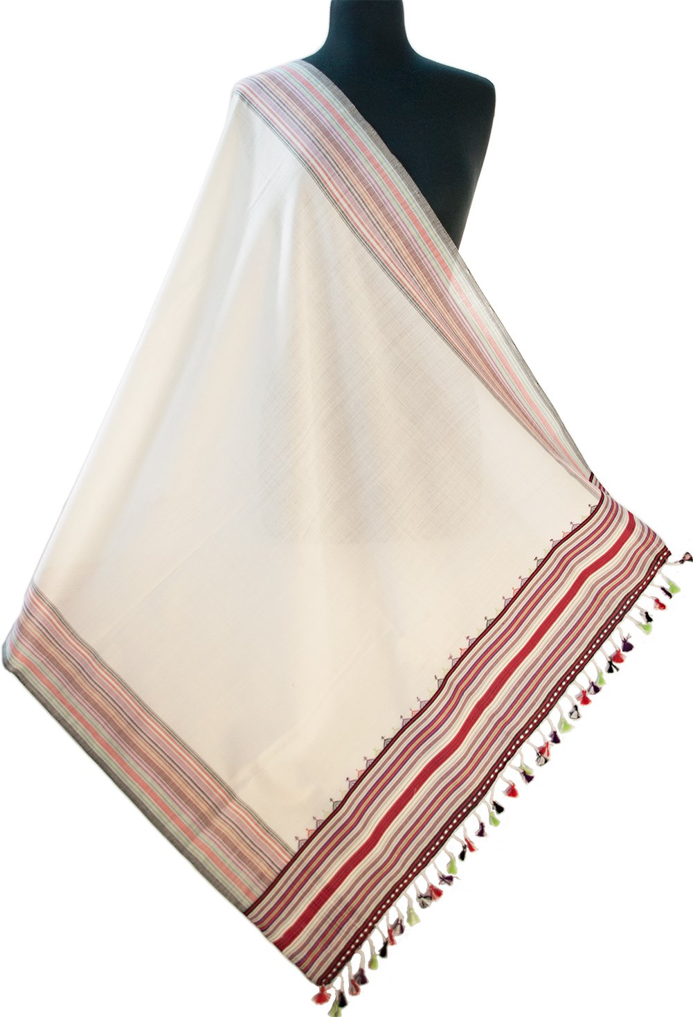 "Large Hand Woven Cotton Shawl Cream Ivory White With Red 82"" x 33"" Colorful Scarf"