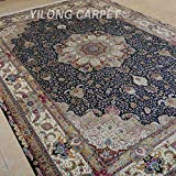 Yilong 10 x14  Large Handmade Persian Silk Rug Classic Oriental Tabriz Floral Medallion Hand Knotted Home Carpet...